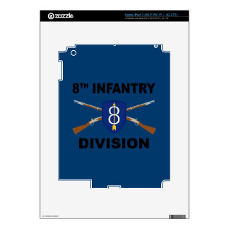 8th Infantry Division - Crossed Rifles - With Text iPad 3 Decal