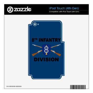 8th Infantry Division - Crossed Rifles - With Text Skins For iPod Touch 4G