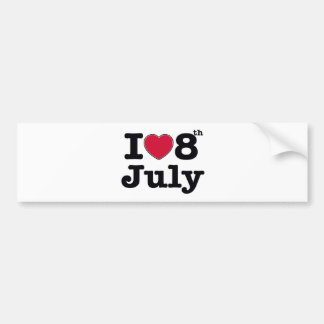 8th july birthday bumper sticker