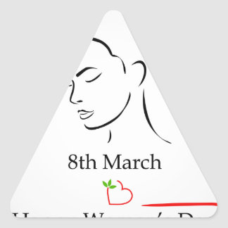 8th March womens day greetings Triangle Sticker