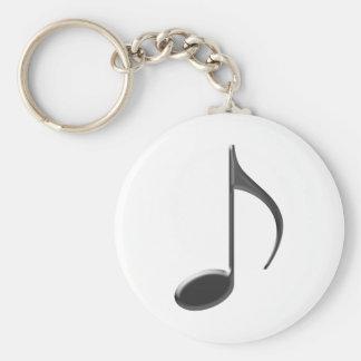 8th Music Note Black Keychain