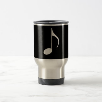 8th Musical Note Silver on Black 15 Oz Stainless Steel Travel Mug
