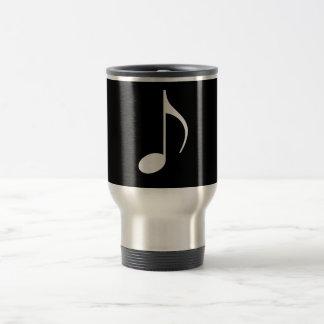 8th Musical Note Silver on Black Travel Mug
