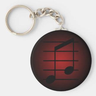 8th note 3 basic round button keychain