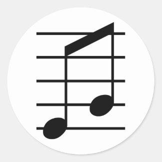 8th note 3 classic round sticker