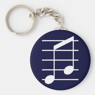 8th note 4 basic round button keychain