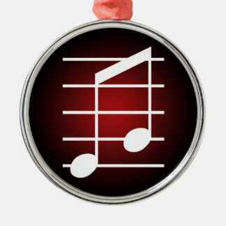 8th note 4 round metal christmas ornament