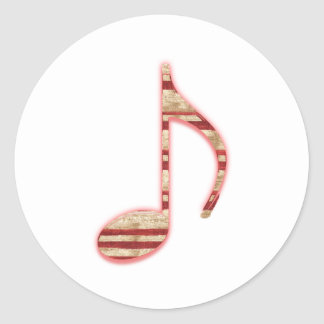 8th Note Candy Cane or Peppermint Classic Round Sticker