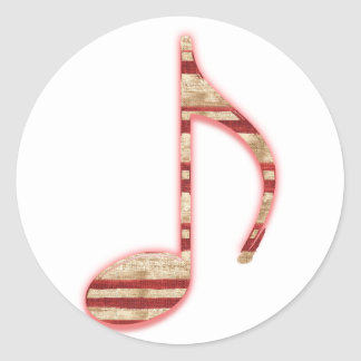 8th Note Candy Cane or Peppermint Round Stickers