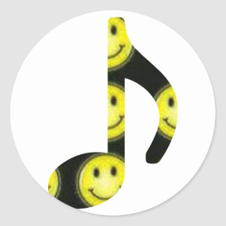 8th Note Happy Face Large 2010 Classic Round Sticker