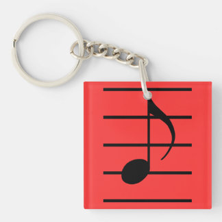 8th note Double-Sided square acrylic keychain