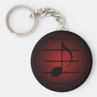 8th note basic round button keychain