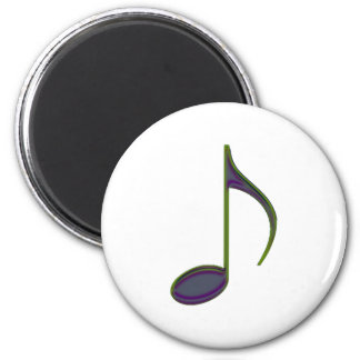 8th Note Large Purplish 2 Inch Round Magnet