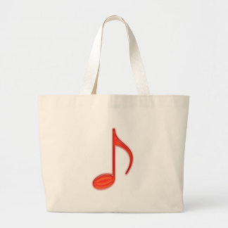 8th Note Large Red Plastic 2010 Jumbo Tote Bag