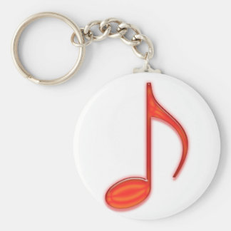 8th Note Large Red Plastic 2010 Keychain