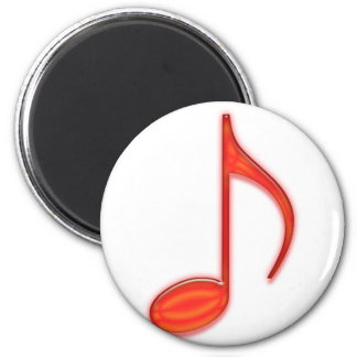 8th Note Large Red Plastic 2010 2 Inch Round Magnet