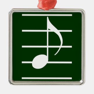 8th note square metal christmas ornament