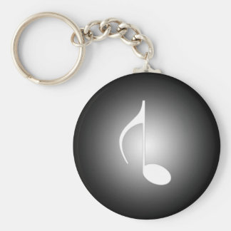 8th Note Reversed Large Basic Round Button Keychain