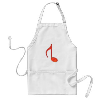 8th Note Reversed Plastic Red Large Adult Apron