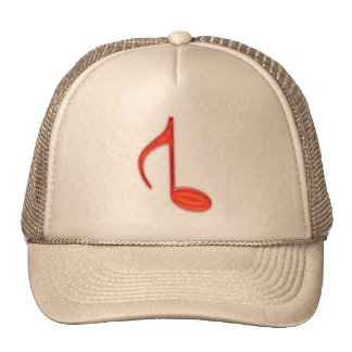 8th Note Reversed Plastic Red Large Trucker Hat