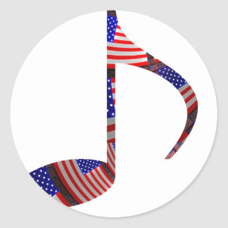 8th Note U.S. Flags Inside of Note Classic Round Sticker