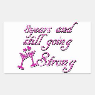 8th Wedding Anniversary Rectangular Sticker