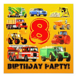 """8va fiesta de cumpleaños de los camiones grandes invitación 5.25"""" x 5.25"""""""