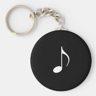 8va nota de la música blanca sobre fondo negro llavero redondo tipo pin