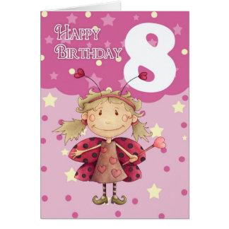 8va tarjeta de cumpleaños con la hada linda de la