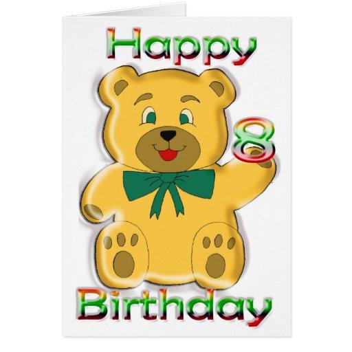 8va tarjeta feliz del oso de peluche del