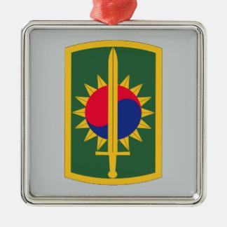 8vo Brigada de la policía militar Adorno Cuadrado Plateado