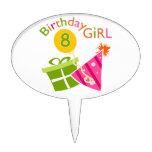 8vo cumpleaños - chica del cumpleaños decoración de tarta