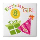 8vo cumpleaños - chica del cumpleaños azulejos
