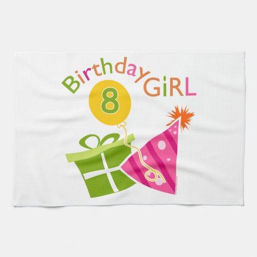8vo cumpleaños - chica del cumpleaños toalla de mano
