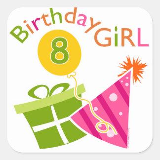 8vo cumpleaños - chica del cumpleaños pegatinas cuadradases