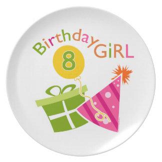 8vo cumpleaños - chica del cumpleaños platos para fiestas