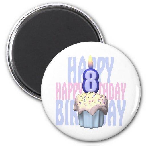 8vo Cumpleaños de la magdalena del cumpleaños Imán Redondo 5 Cm