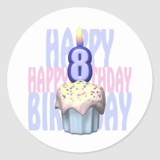 8vo Cumpleaños de la magdalena del cumpleaños Pegatina Redonda
