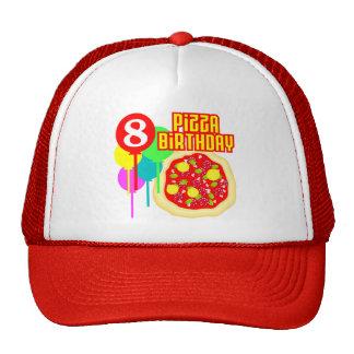 8vo Cumpleaños de la pizza del cumpleaños Gorros