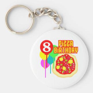 8vo Cumpleaños de la pizza del cumpleaños Llavero Redondo Tipo Pin