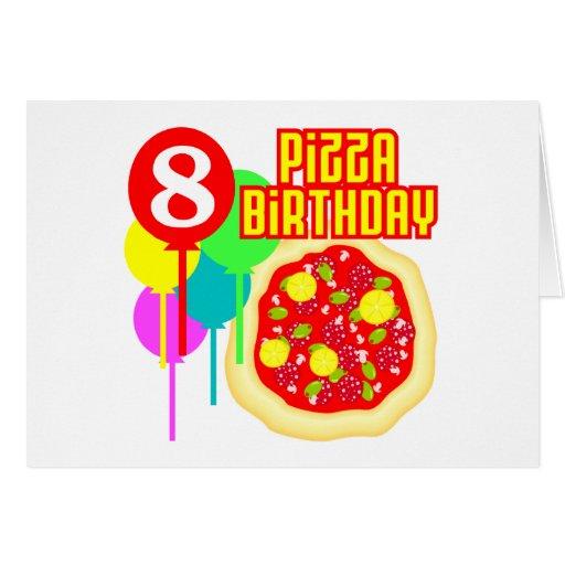 8vo Cumpleaños de la pizza del cumpleaños Tarjetón