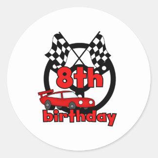 8vo cumpleaños de las carreras de coches pegatina redonda