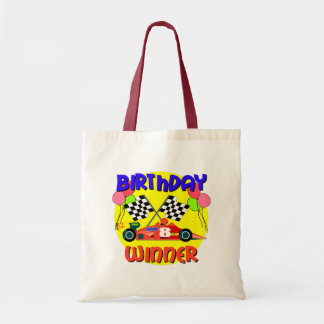 8vo Cumpleaños del coche de carreras del cumpleaño Bolsa Tela Barata