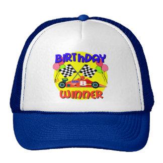 8vo Cumpleaños del coche de carreras del cumpleaño Gorras