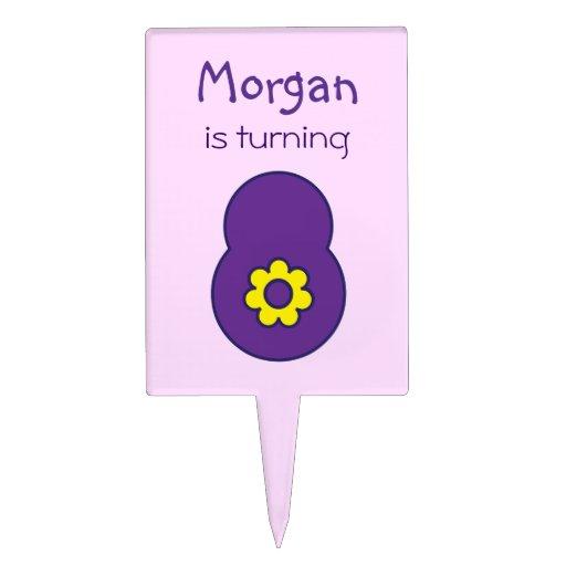 8vo Cumpleaños en la púrpura de Flores Figuras Para Tartas
