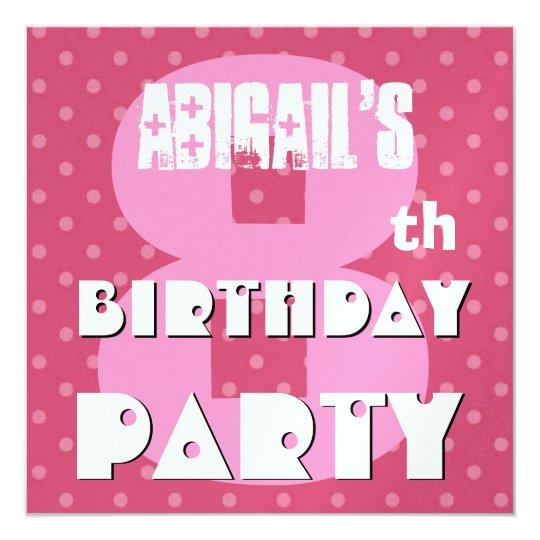 """8vo Fiesta de cumpleaños ocho años de lunar rosado Invitación 5.25"""" X 5.25"""""""