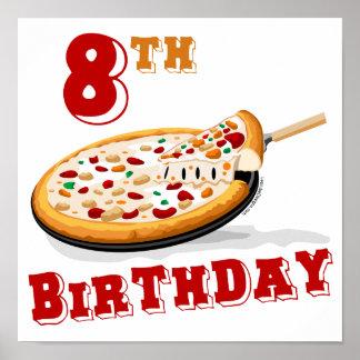 8vo Fiesta de la pizza del cumpleaños Póster