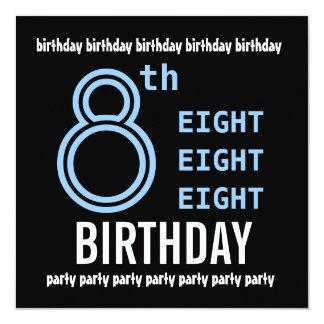 8vo G201 azul de la fiesta de cumpleaños y negro Invitación 13,3 Cm X 13,3cm