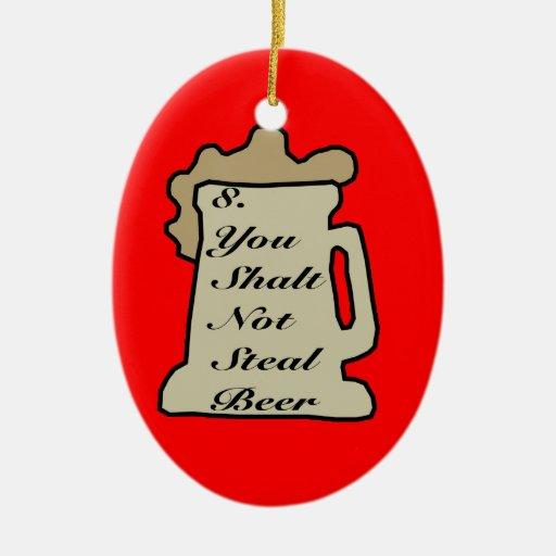 8vo Mandamiento del ornamento de la cerveza Adornos De Navidad