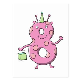 8vo monstruo del dibujo animado del cumpleaños del postales